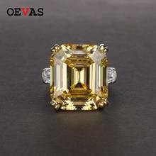 Oevas luxo grande quadrado rosa amarelo branco aaaaa + zicon s925 prata esterlina anéis de casamento meninas aniversário pedra jóias dropship