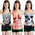 Moda 3/24 Cores Mulheres Tops Blusas de Impressão Do Punk Rock Gótico Colete Partido Clubwear Camisetas 2016 Frete Grátis PY L4