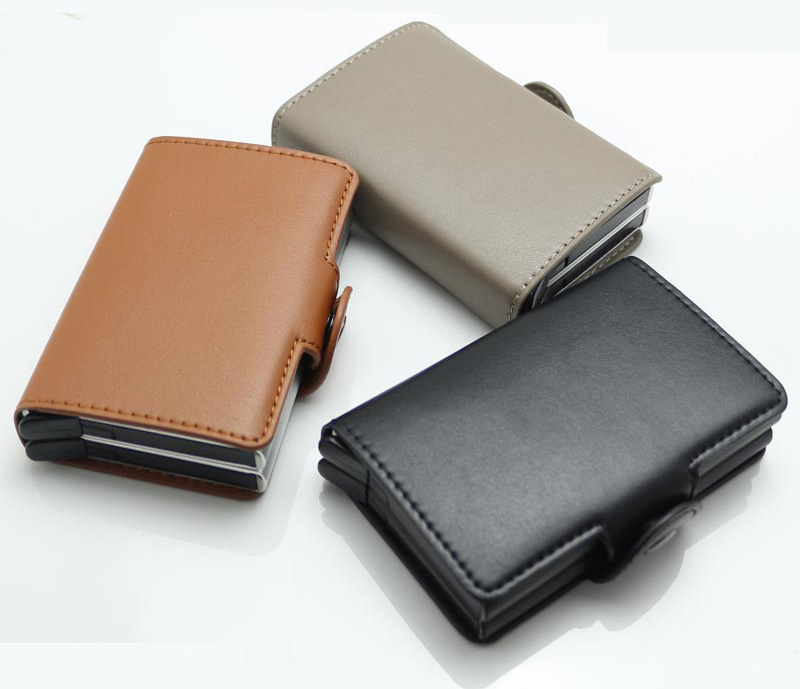 Fashion Men Rfid Blocking Wallet Mini PU Leather Business Aluminium Credit Card Holder Automatic Pop Up ID Card Small Purse