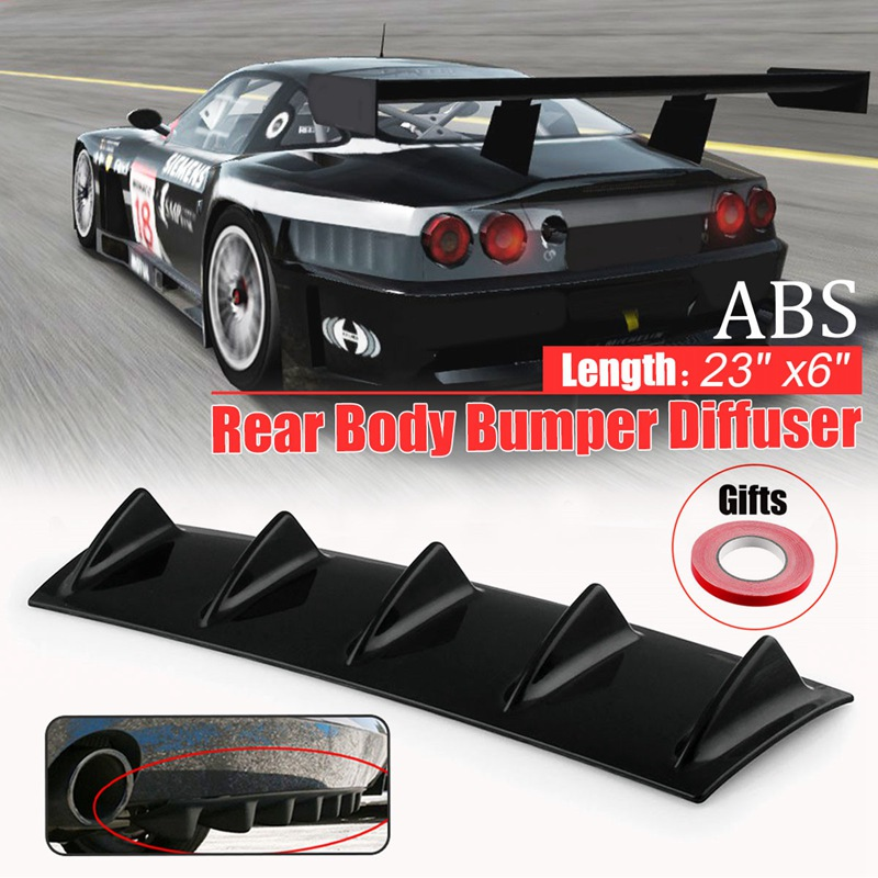 ABS Car-Styling Plastic 23/ 14x6 /33x5 Universal Lower Car Splitter Rear Bumper Lip Diffuser Shark Fin Spoiler Kit 5/3/7 Fin