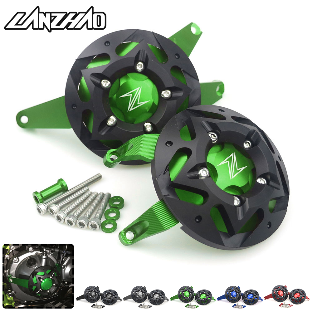 For Kawasaki Z900 2017 2018 CNC Aluminum Motorcycle Engine Guard Side Stator Case Guard Protector Green Black Blue Red Titanium цена