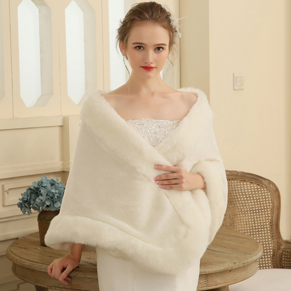 Wedding Gown Wraps: Fashion Warm Shawl Wrap Faux Fur Cover Up Stole Bridal