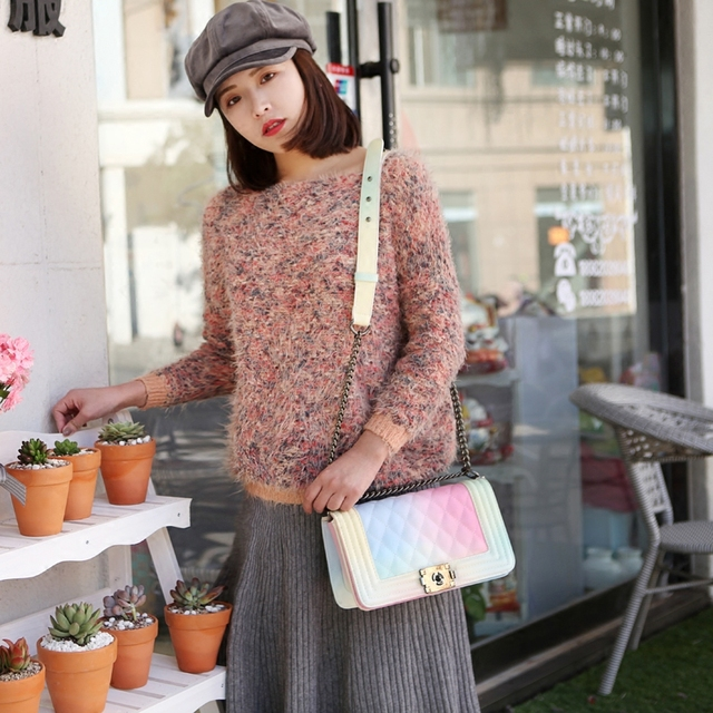 2019 rainbow women shoulder bags female crossbody chain bag plaid handbag quilted femme women colorful PU leather handbags 057