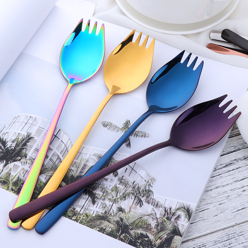 7 Colours Stainless Steel Spoons With Long Handle Rainbow Dessert Spoons Set for Dinner Multifunction Metal Salad Spoon Gold