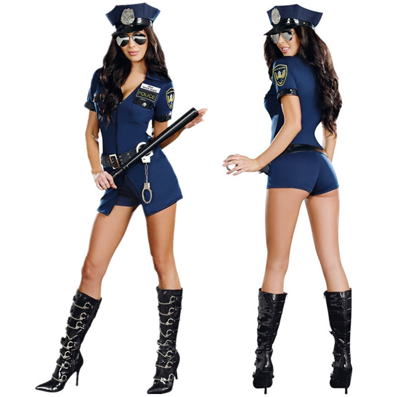 Ladies Black Police Costume Cop Officer Uniform Party Fancy Dress Blue Outfits