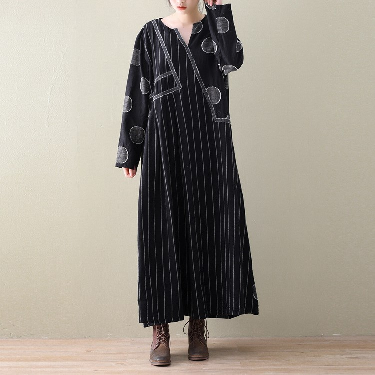 2bba30c831 New Long Sleeve Cotton Linen Maxi Dress Loose Big Size Striped Dots Vintage Dress  Casual Patchwork Long Printed Dresses