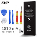 100% Original Brand KHP Phone Battery For iphone 6 Real Capacity 1810mAh With Machine Tools Kit Mobile Batteries