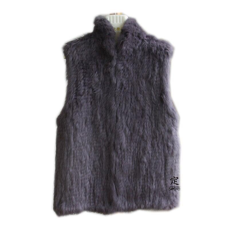 Real Fur 2019 Lady Fashion Genuine Knitting Rabbit Fur Vest Waistcoat  Women  Natural Fur Vest  Gilet Outerwear Vest