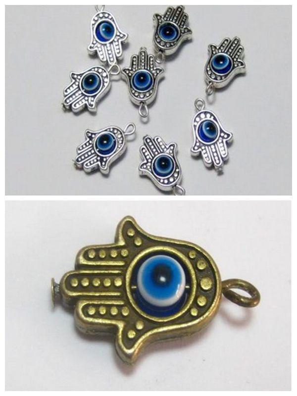 Hot ! 80 Pcs Antique Silver / Bronze Hamsa Hand EVIL EYE Kabbalah Good Luck Charm Pendant  ab02