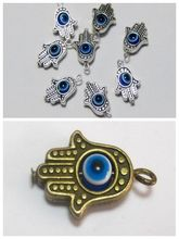 Hot ! 80 Pcs Antique Silver / Bronze Hamsa Hand EVIL EYE Kabbalah Good Luck Charm Pendant  ab02