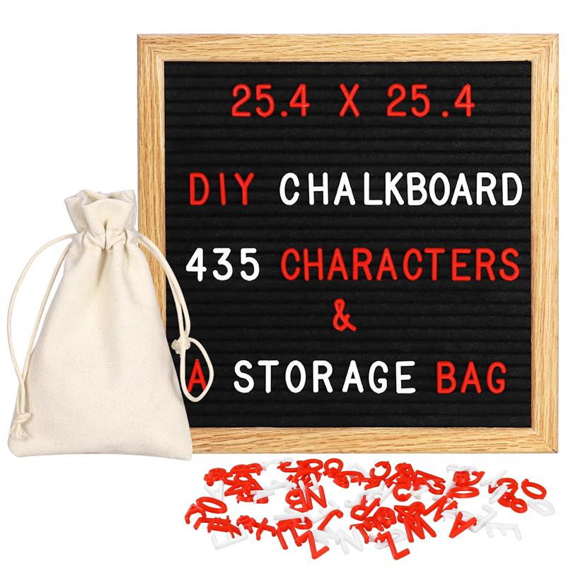 Wooden Frame Black Felt Message Board Changeable Signs with Letters And Numbers Display Any Message
