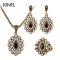 New Arrival High Quality Party Gift Dubai crystal Parure Necklace Earrings Ring Jewelry Sets Fashion Vintage Alloy Necklace