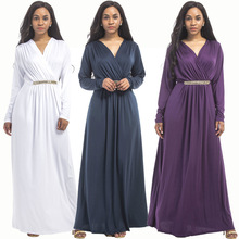 New hot fashion personality large size women's dress stitching loose solid color long-sleeved dress sexy round neck fat MM dress autumn new middle east popular solid color loose casual hanging neck loose wide leg large size fat mm sexy ladies dress