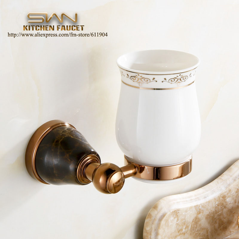 Free shipping Rose Red Stone Brass Ceramic Bathroom Accessories Single cup Tumbler Holders Toothbrush Cup Holders