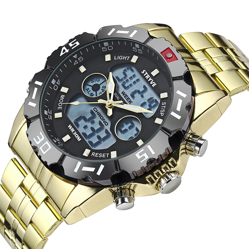 Image 4 - Stryve 8011 Relojes Brand Waterproof Military Sport Watches Men Stainless Steel Digital Quartz Dual Display Watch montre hommeDigital Watches   -