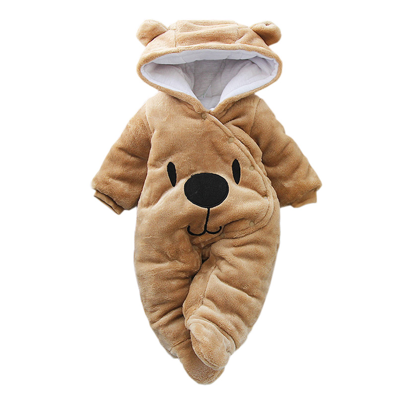 Baby Clothing 2019 Autumn Winter Overalls For Baby Boys Girls Velvet Hooded Romper For Baby Clothes Newborn Infant Jumpsuit