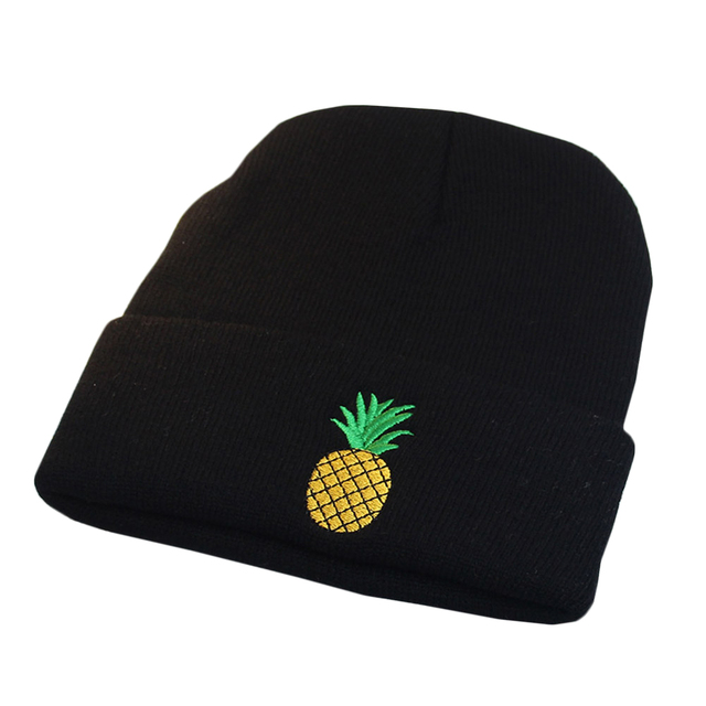 Winter Women Girl Rose Embroidered Pineapple Beanie Stocking Cap Hiking  Cuffed Knit Hat Warm Skull Caps