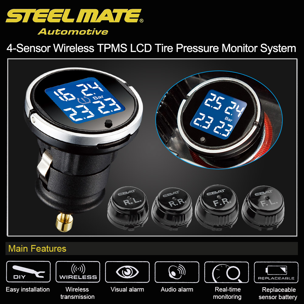 Steelmate EBAT ET-710AE TPMS Car Tire Pressure Monitor System Universal Car Alarm System Diagnostic Tool 4-sensor Wireless LCD only one audio auto car wireless tpms tire pressure alarm system tpms with 4 internal sensors car diagnostic tool