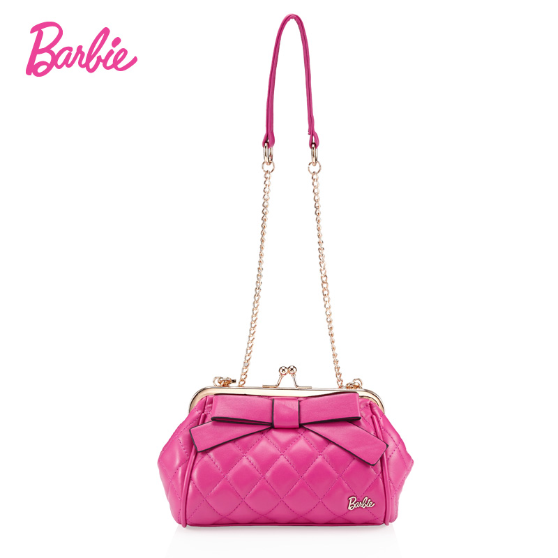 все цены на BARBIE designer small mini bags women chain crossbody bags handbags shoulder bags female bow Ladies girl PU Leather Pink female онлайн