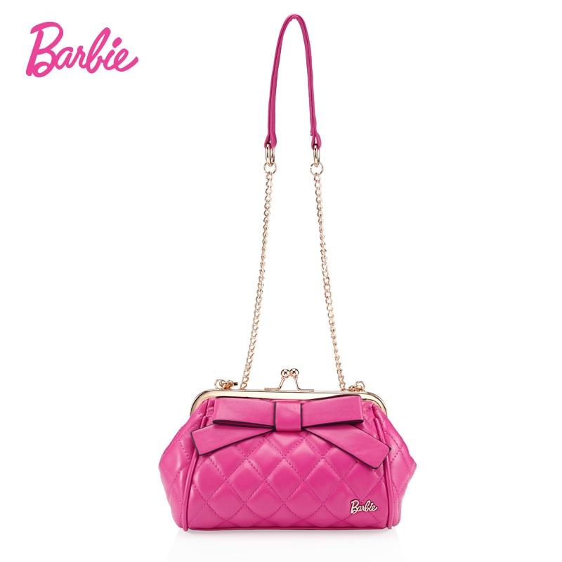 BARBIE designer small mini bags women chain crossbody bags handbags shoulder bags female bow Ladies girl PU Leather Pink female