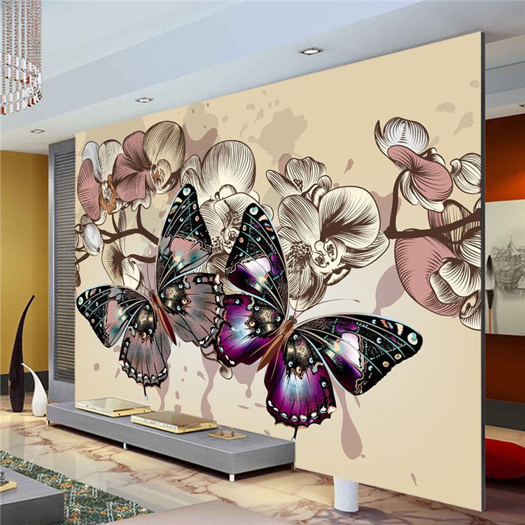 Compare prices on vintage butterfly wallpaper online for Butterfly mural wallpaper