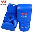 Wesing guantes de boxeo de cuero guantes de boxeo GEL abierto pulgar pelea golpe bolsa MMA Muay thai patada luva de muay tailandés