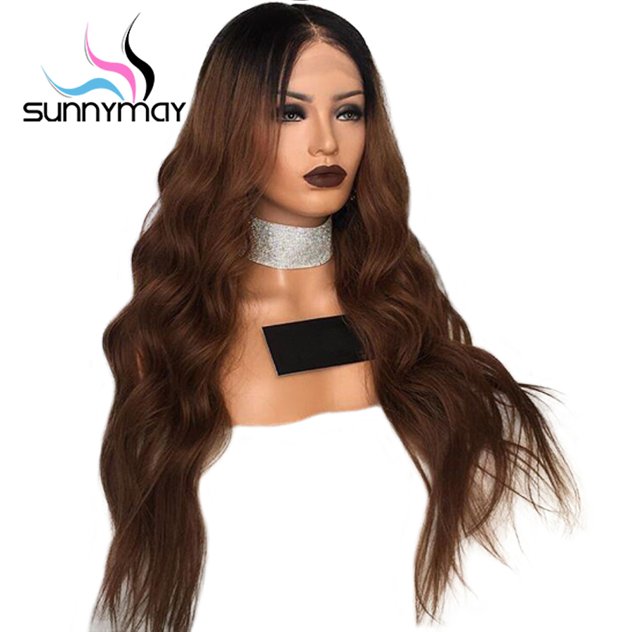 Sunnymay Wavy Ombre Full Lace Human Hair Wigs for Women 150 Pre Plucked And Bleached Kntos