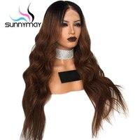 Sunnymay波状オンブルフルレース人間の髪の毛のかつら女性150%事前摘み取らと漂白kntosオンブルフルレースかつらで赤ちゃん髪