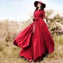 2017 female one-piece dress corduroy trench dresses long-sleeve expansion Elegant Retro Big swing dress Jujube red dark blue