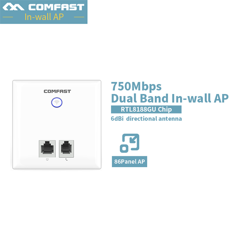 Comfast CF-E537AC 750Mbps Dual Band In Wall AP 2.4ghz +5.8ghz Wifi Repeater AP For Hotel Dormitory Wifi Coverage Solution