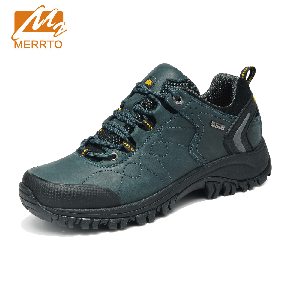 MERRTO 2018 Waterproof Hiking Shoes Men Sports Sneakers Men Women Genuine Leather Hiking Boots Mountain Trekking Shoes Sneakers 2018 merrto women hiking boots waterproof outdoor sports shoes full grain leather plus velvet for women free shipping 18001