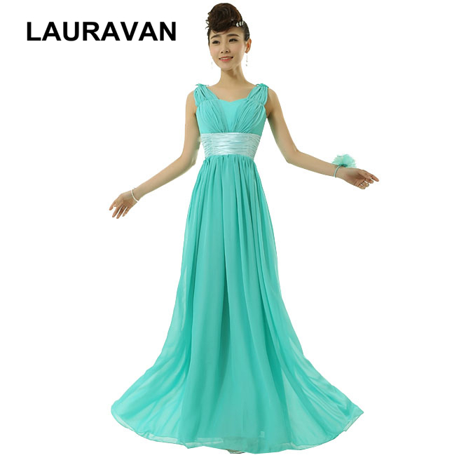 Turquoise Green Chiffon Beautiful Royal Blue Party Bridesmaid Long Gowns For Women Dress V Neck Special Occasion Dresses 2019