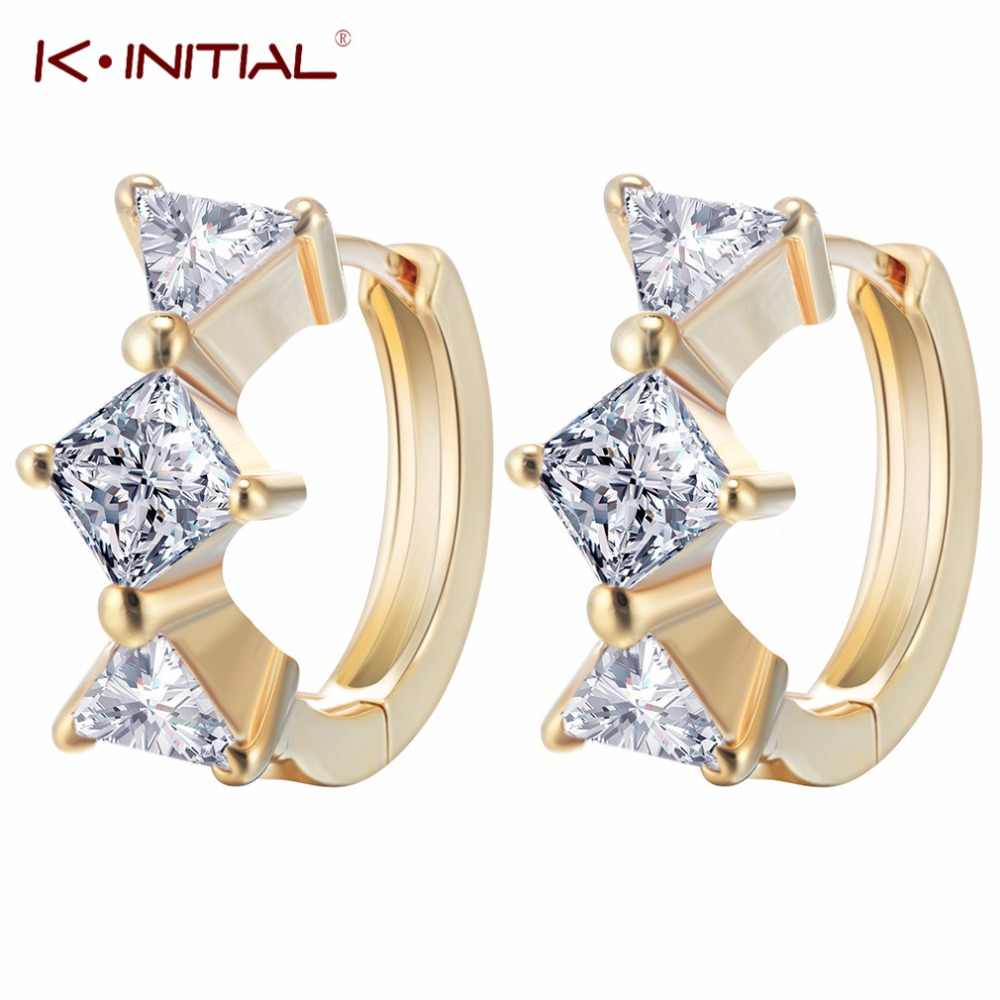 Kinitial 1Pair Fashion Corner Cubic Zircon Triangle Hoop Earrings Top Grade CZ Zircon Summer Style Earring Jewelry