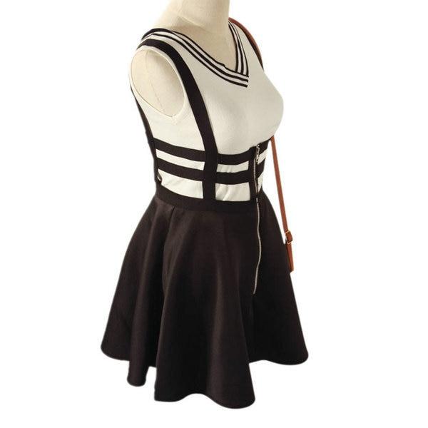 Women Lovely Suspender Braces Hollow Out Bandage Skater Mini dress hot selling H7