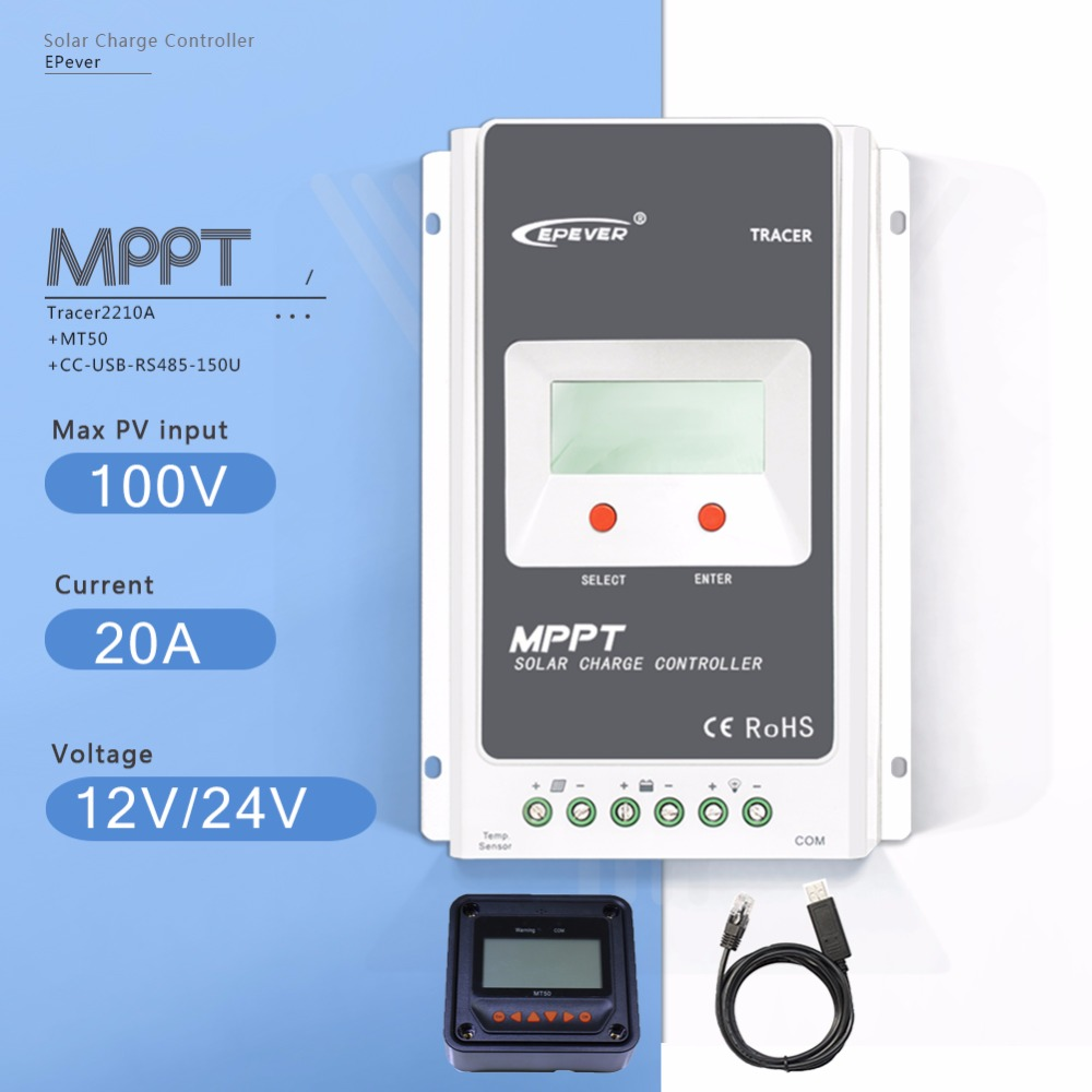 MPPT 20A Tracer 2210A Solar Charge Controller 12V/24V Auto LCD Solar  Battery Charge Regulator with MT50 Meter and USB Cable tracer2210a black mt50 remote meter mppt solar battery controller with usb and temperature sensor 20a