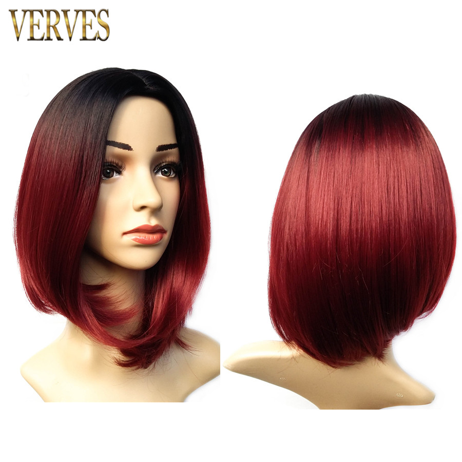 short grey synthetic wig burgundy