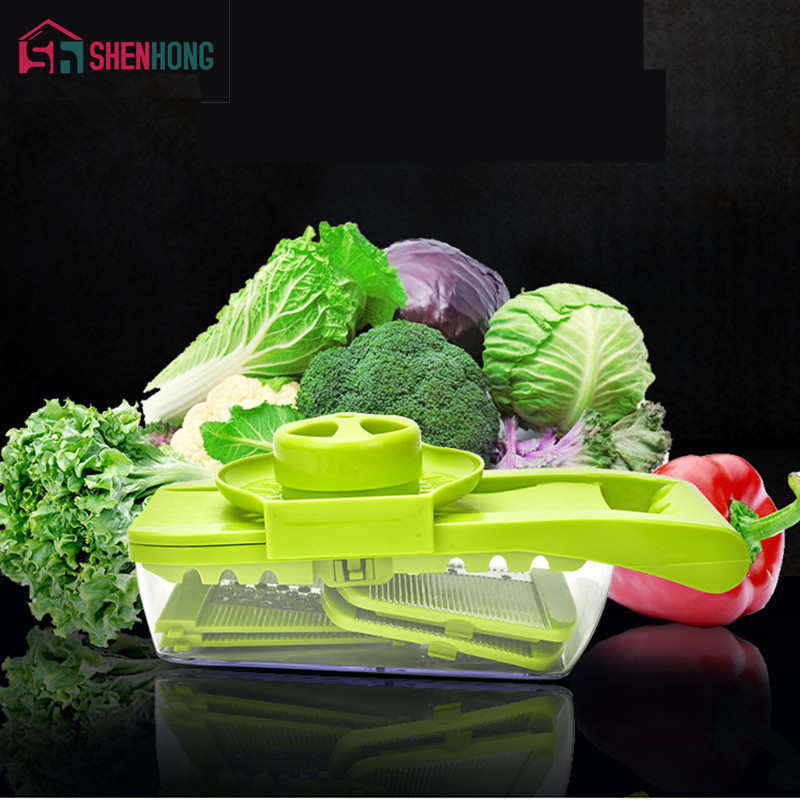 Vegetable Cutter Food Container Adjustable Mandoline Slicer with 4 Interchangeable Stainless Steel Blades Slicer Grater
