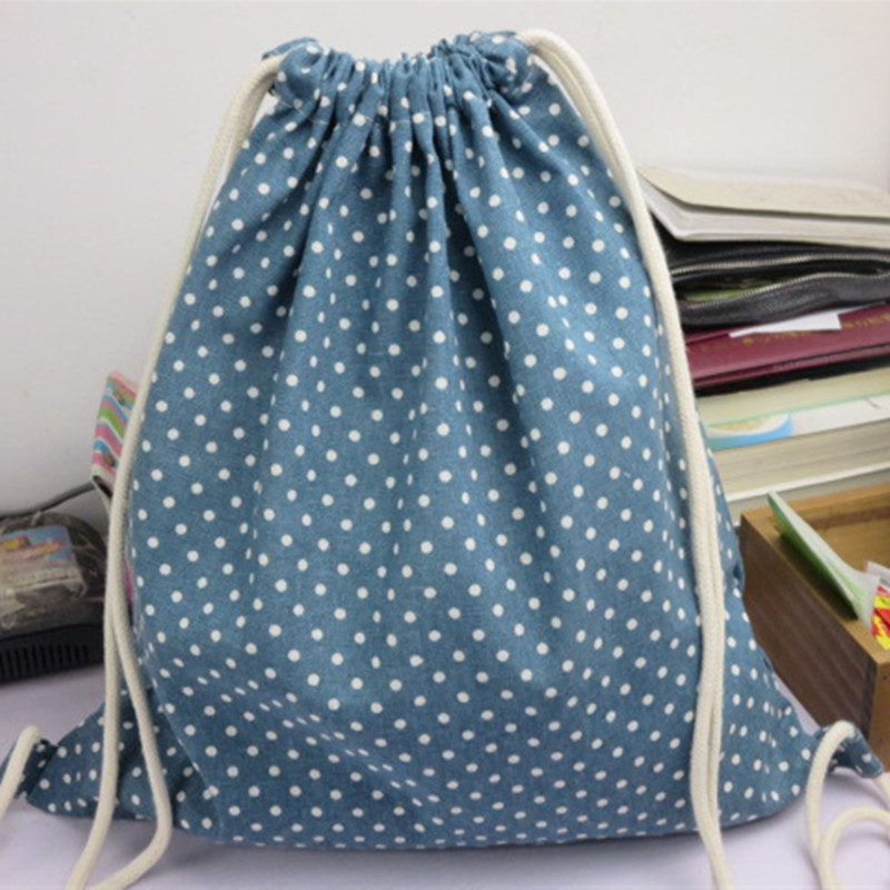 YILE 1pc Cotton Linen Drawstring Travel Backpack Student Book Bag Green Blue W Dots 1121-6