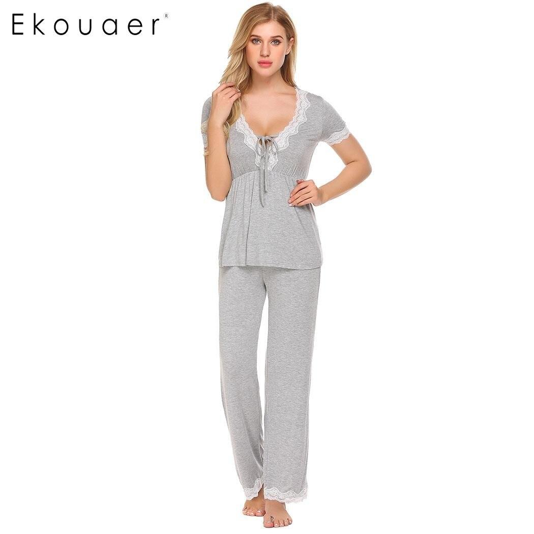 Ekouaer Women Casual   Pajamas     Set   Loose Short Sleeve Sleepwear Lace Patchwork Elastic Waistband Solid   Pajamas     Set   Female Nighties