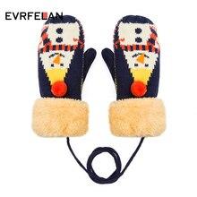 Evrfelan новые зимние толстые хлопковые перчатки для женщин с принтом снеговика вязаные перчатки варежки для девочек зимние уличные перчатки сохраняющие тепло руки