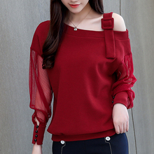 Autumn long sleeve shirt women fashion blouses 2019 sexy off shoulder top solid blouse clothing female 902B3