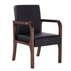 Image 2 - Luxe 100% hout moderne Vrijetijdsbesteding stoel met fauteuil hout eetkamerstoel Nordic retro sofa PU Lederen sofa Woonkamer Meubels