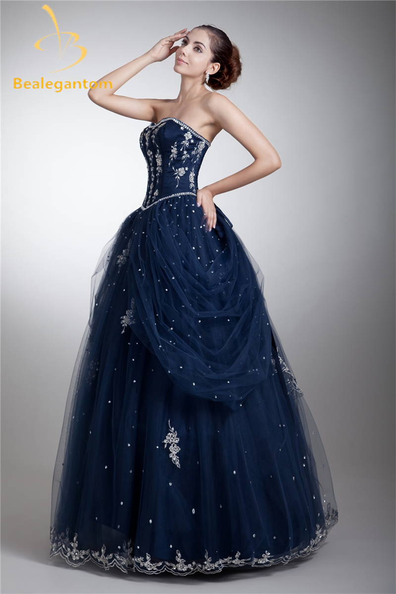 Bealegantom Mode Broderie A-ligne Quinceanera Robes 2018 Avec Perles Tulle Doux 16 Robes Robe Débutante Robes BQ0-9