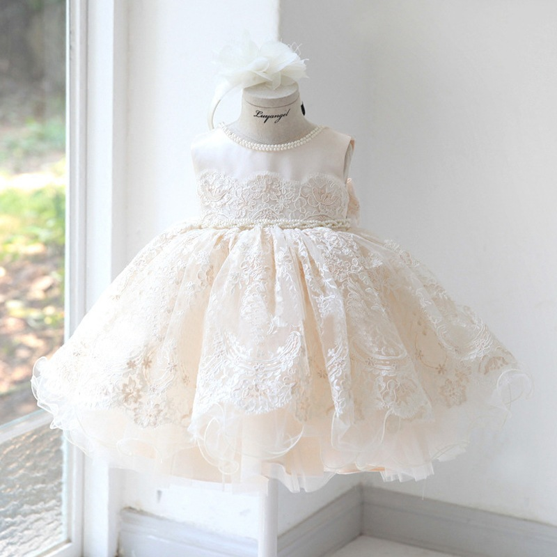 Children's Princess Bun Dress Dinner Party Evening Dress Girl Birthday Party With Appliques Cute Print Little Baby Formal Dress