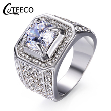 CUTEECO Fashion Full Inlaid Cubic Zirconia Rings For Men Hip Hop Cool Street Shining Big CZ Ring Male Jewelry