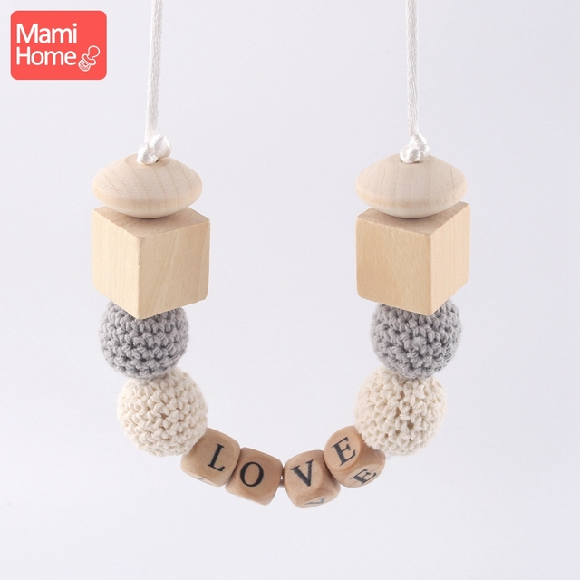 mamihome 1PC Personalised Baby Necklace Custom Baby Name Food Grade Teething Newborn Gifts Breastfeeding Necklace Baby Teether