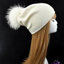 Женщины Зима Натуральный Мех Помпон Шляпа Женщина Шерсти Трикотажные Шапочки Hat съемный Натуральный Мех Енота Пом Пом Hat Кашемир Настоящее Меховая Шапка