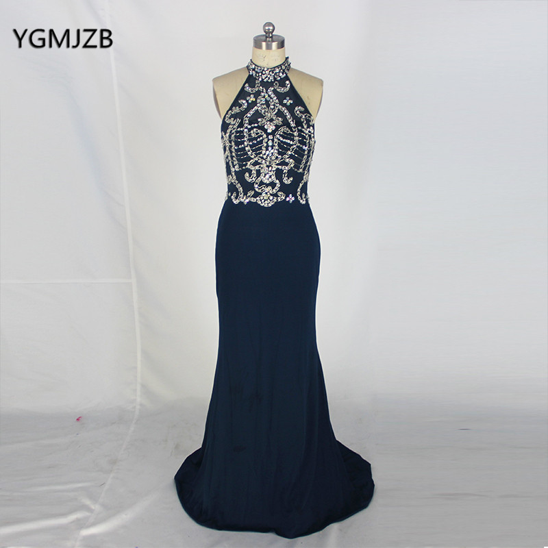 Open Back Long   Evening     Dresses   2018 Mermaid High Neck Beaded Crystal Sleeveless Black   Evening   Gown Women Formal Prom   Dress