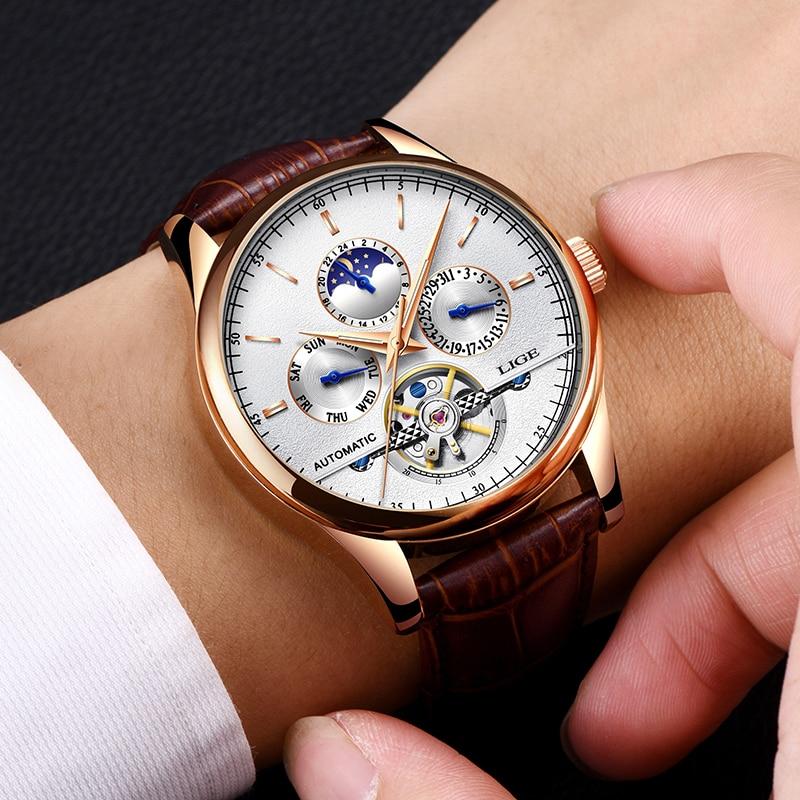 LIGE Luxury Brand Men Watches Automatic Mechanical Watch Tourbillon Sport Watches Automatic Date Clock Waterproof Wristwatch+ox