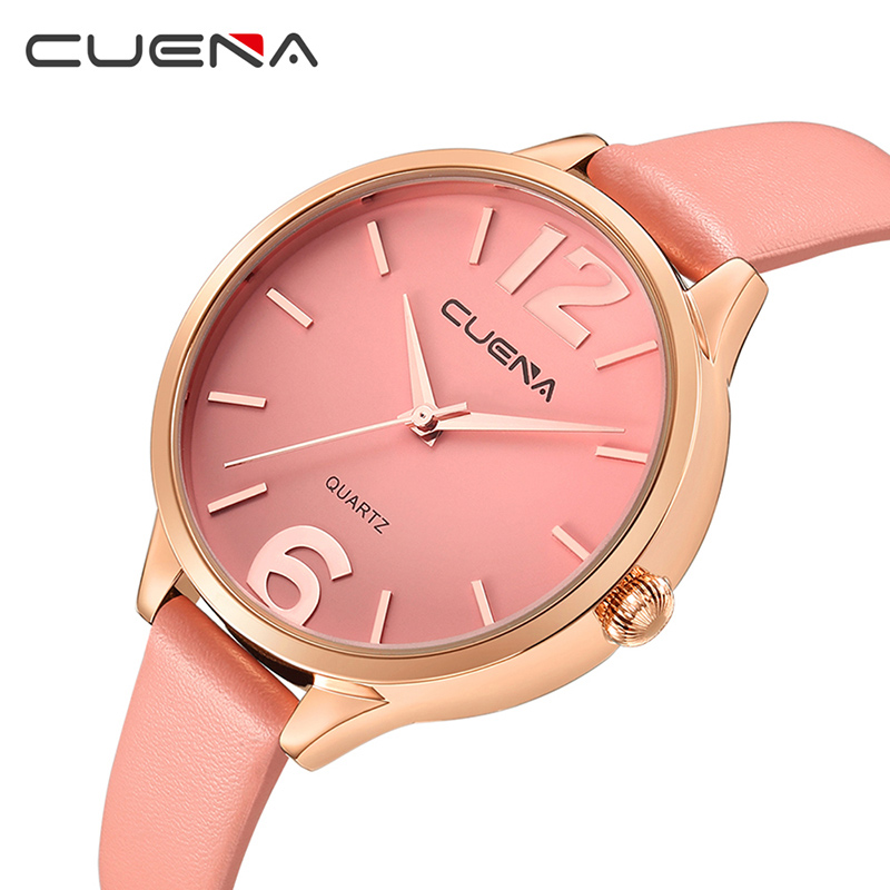 CUENA Ladies Watches Top Brand Luxury Leather Fashion Women Quartz Watch Waterproof Wristwatches Relogio Feminino Reloj Mujer top ochstin brand luxury watches women 2017 new fashion quartz watch relogio feminino clock ladies dress reloj mujer